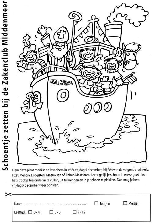 Kleurplaten Sinterklaas Schoen Zetten.Kleurplaat Sinterklaas In Hoop Van Gevulde Schoen Zakenclub Middenmeer